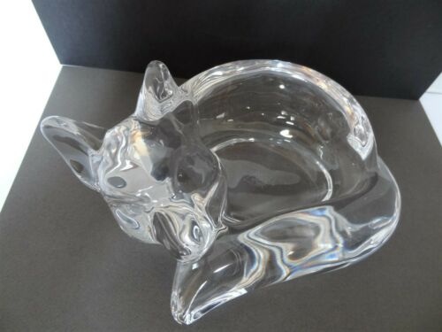 Vannes France Crystal Fox Dish Bowl Signed