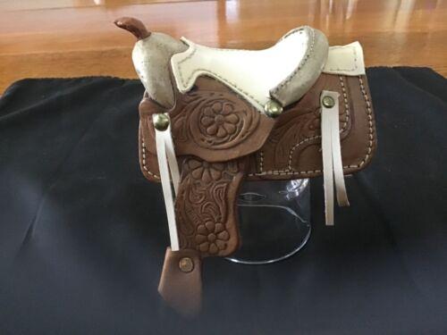 Vintage  Hand Tooled Leather Miniature Toy Horse Saddle Western Decor 5 Inch