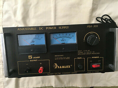 Samlex Psa-305 Adjustable Dc Power Supply Very Good Condition 0-30 Vdc 5 Amp