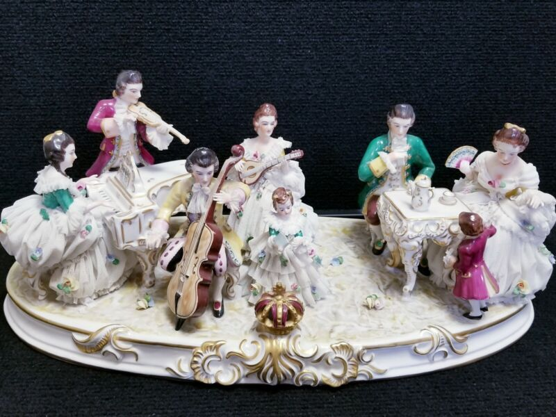 ANTIQUE LARGE LACE DRESDEN VOLKSTEDT Figurine of Quartet Playing to a Family.