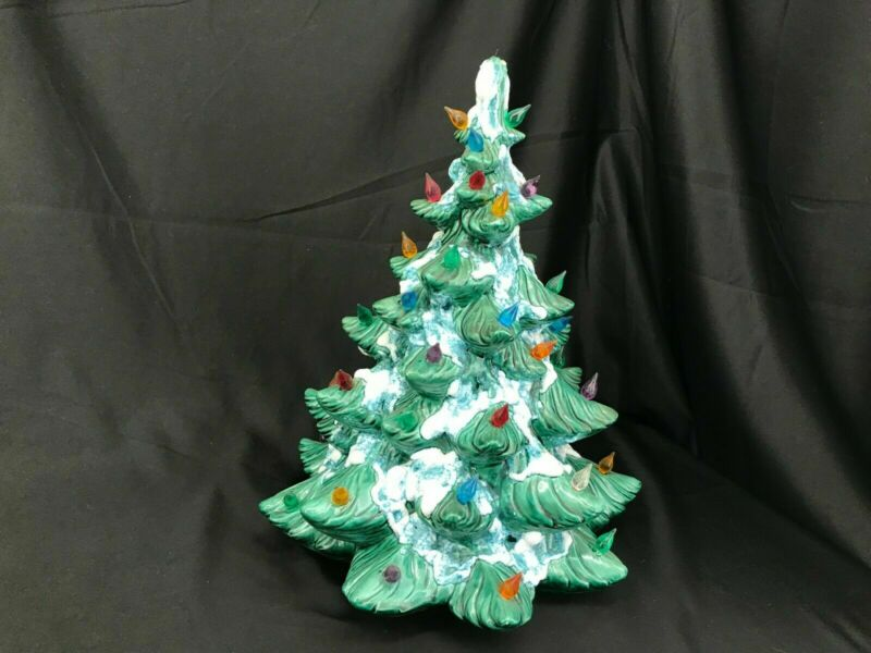 "Vintage 14"" Green Ceramic Snow Flocked Christmas Tree Atlantic Mold Co"