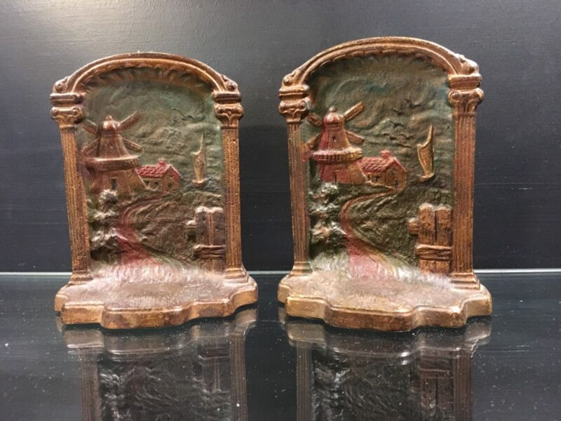 Set of Antique Cast Bronze Bookends with a Dutch Scene of Windmill in Color