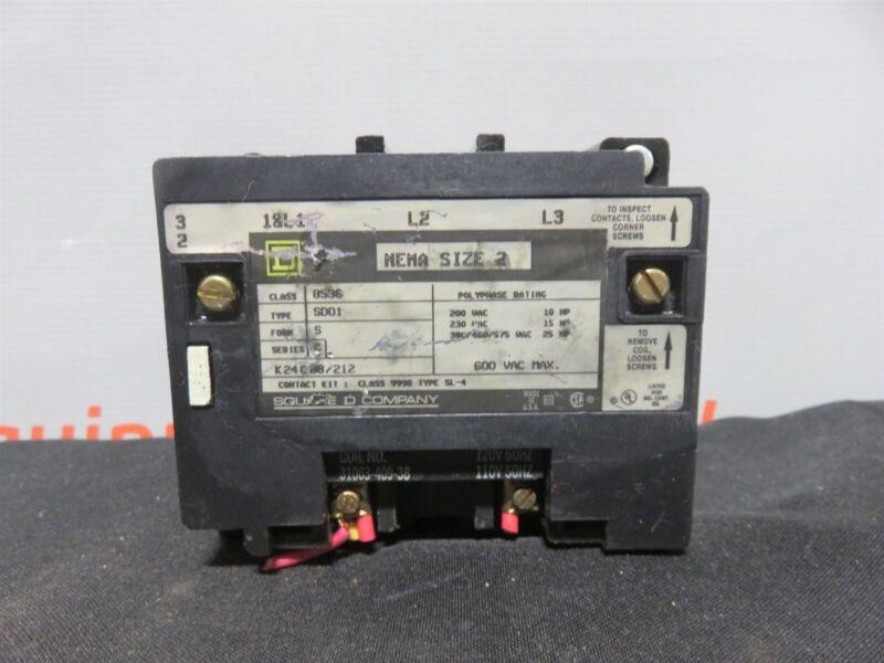 Square D 8536 Magnetic Motor Starter Nema Size 2 600 VAC