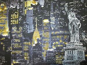 NYC NEW YORK CITY BUILDINGS LANDMARKS YELLOW BLUE GRAY COTTON FABRIC FQ