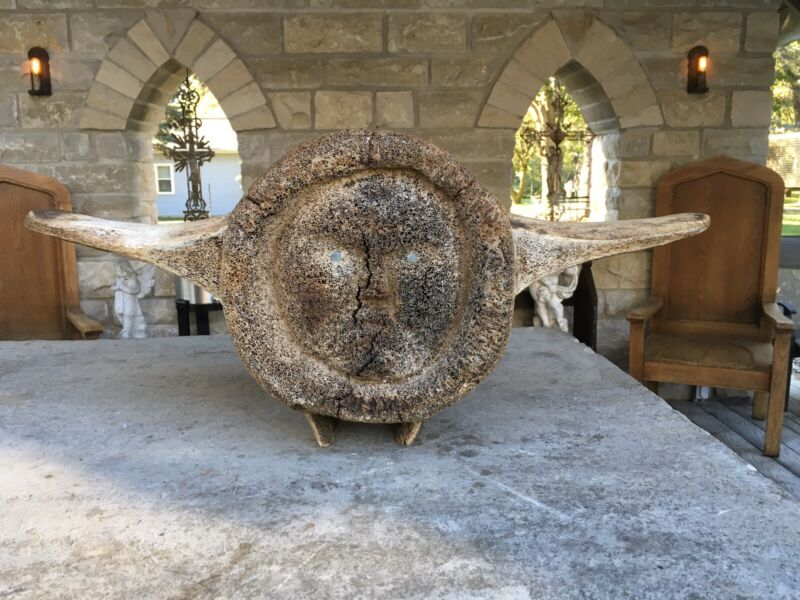 "WHALE VERTEBRAE FOSSIL DOUBLE SIDED CARVING 27"" L.  15.8 POUNDS DETAILED"