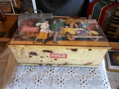 "Coca-Cola Coke Retro ""Promenade"" Wood Look Tin with Hinged Lid"