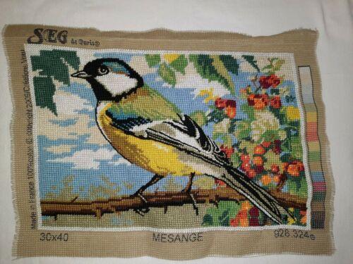 SEG de Paris Needlepoint Finished - Mesange - Beautiful Bird w/ Colorful Berries