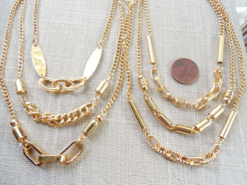 """Vintage NOS nice lot of 6 cool 70s asst styles gold tone chain 15"""" necklaces DB"""