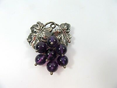 Ming's Hawaii Sterling Amethyst Grape Pin Brooch 925 Silver G592