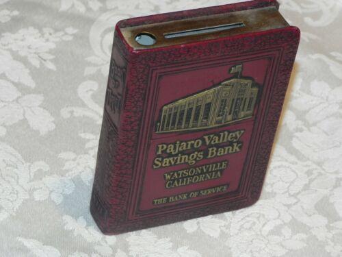 Vintage Pajaro Valley Savings Bank - Metal Coin Bank Book  - no key
