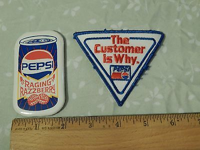 """PEPSI-COLA ~LOT~ [Vtg_Ltd] """"The Customer is Why"""" PATCH & """"Raging Razzberry"""" PIN"""