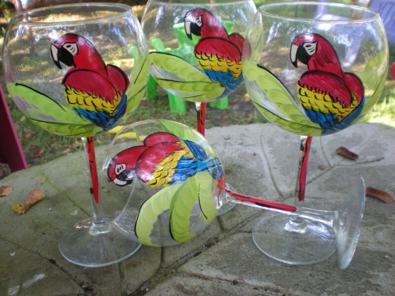 HAND PAINTED RED PARROTS/PALM 19 OUNCE  BALLOON GOBLETS/ SET/4(MADE IN THE USA)