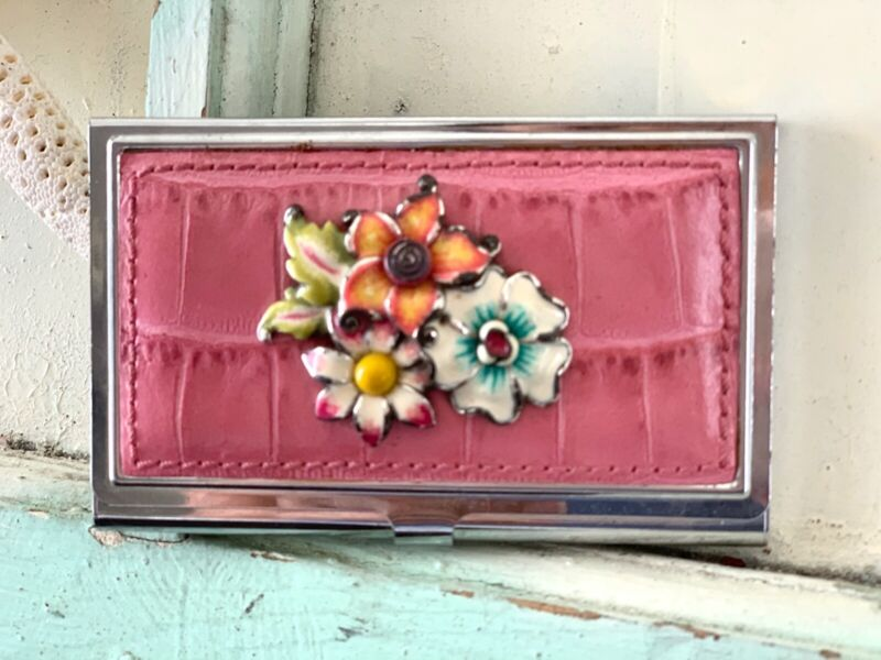 Brighton Business Card Holder, Ladies Accessories, Metal and Leather with Flower