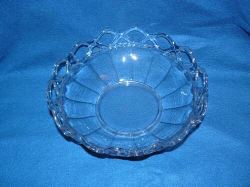 """Clear Cut Glass Bowl Open Weave Lace Rim Colonial Pattern 3 1/2""""Tall 10 1/2""""Wide"""
