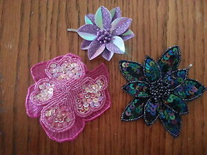 Lot of 3 new Flower Hair Pins Prom Accessory
