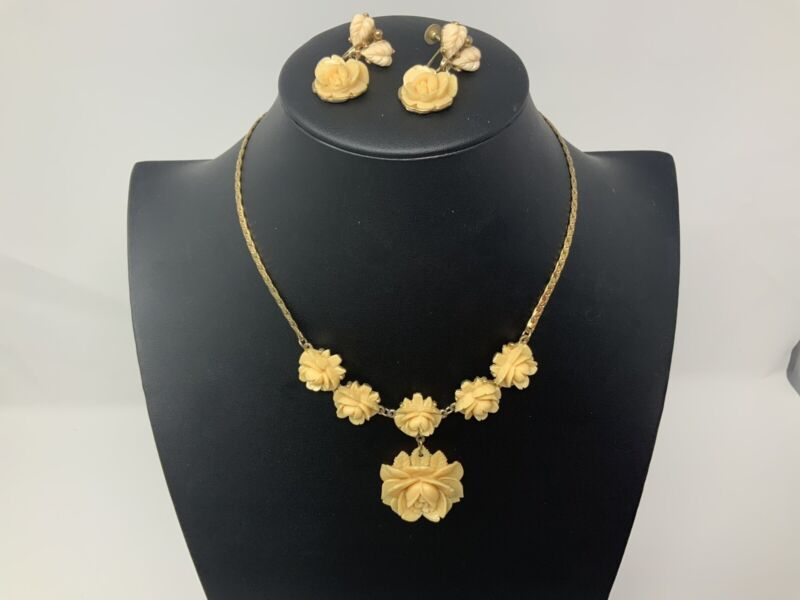 Antique Deeply Carved Celluloid Off White Roses Necklace And Earring Demi Parure