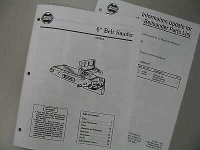 Shopsmith Belt Sander Manual 845231 with Parts List, User's Guide