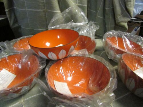 "NEW Vintage Cathrineholm Orange White Enamel Lotus Bowl 5 1/2"" PAPER LABEL NOS"