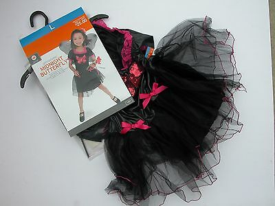 NWT NEW Halloween Costume L (10-12) Girl Midnight Butterfly Dress Wings - Butterfly Girl Halloween Costume