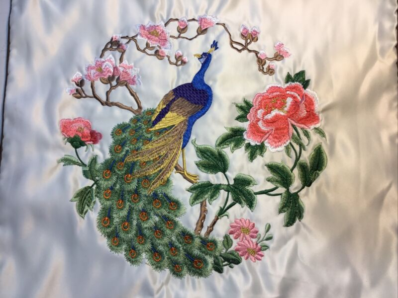 "Pair Vintage Embroidered Pillow Cases Peacocks Flowers 17"" X 17"""