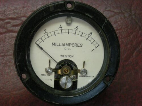 VINTAGE WESTON METER 1.0 Milliampere DC Full Scale, Model 1521, TESTED