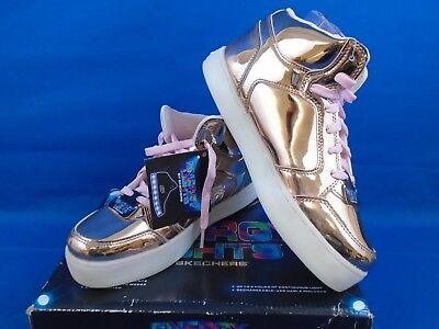 Girl's Skechers Energy Lights Dance N Dazzle Rose Gold High Top Size 7 for sale  Shipping to India