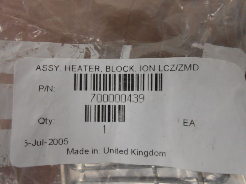 1 USED WATERS ION BLOCK HEATER ASSY. 700000439 USED WITH ZMD MASS SPECTROMETER