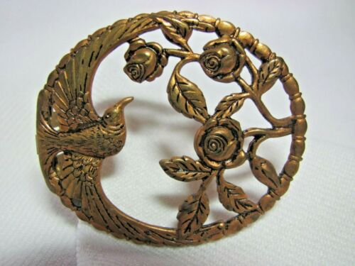 Vintage Brass Dress Clip Bird with Widespread Wings & Roses Oval