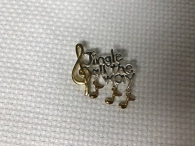 """Gold and Silver tone vintage Brooch """"Jingle all the Way"""" Music Notes"""