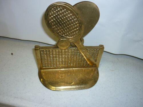 Set of 2 Vintage Solid Brass Tennis Bookends Racket, Ball, Net.
