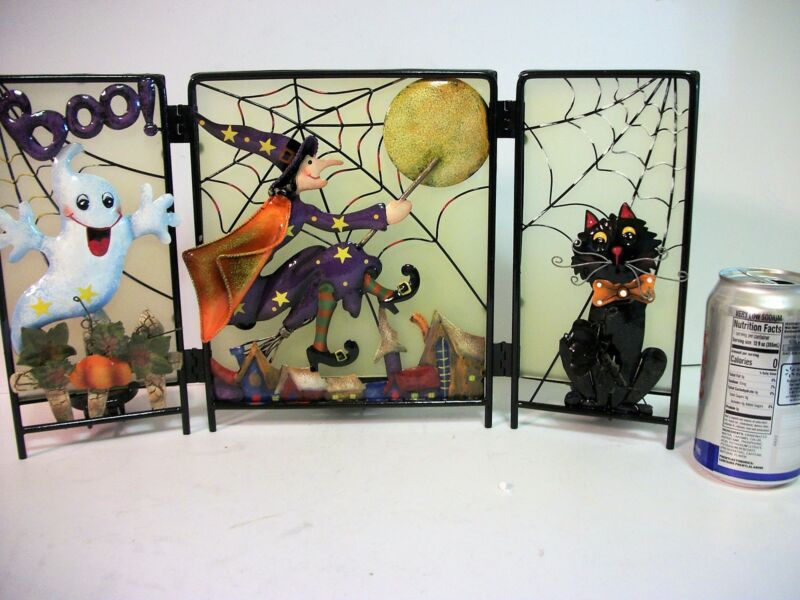Halloween Screen w Tealight Candle Holders Witches Ghost  Black Cat