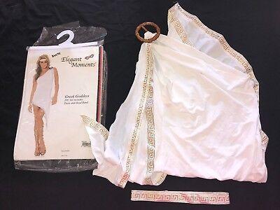 womens GREEK GODDESS HALLOWEEN COSTUME size medium DRESS HEADBAND white GOLD wow - White Gold Dress Halloween