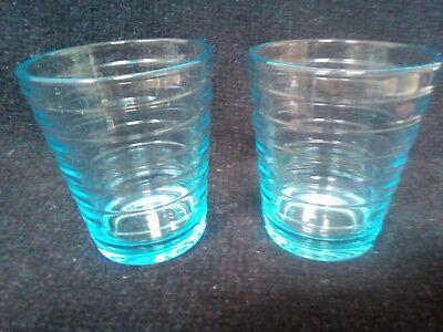 Iittala Aino Aalto blue Small Glass Tumbler pair Swedish (Aino Glasses)