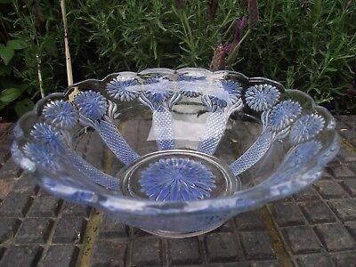 Art Deco? Vintage Clear Pressed Glass Bowl + Blue Chrysanthemum Flowers Floral