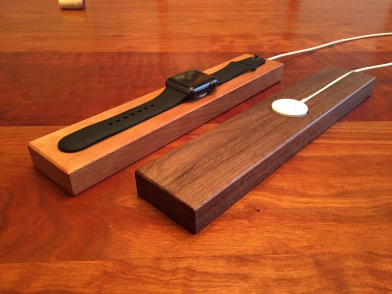 Apple Watch Charging Station - Cherry or Walnut wood - Handmade Dock