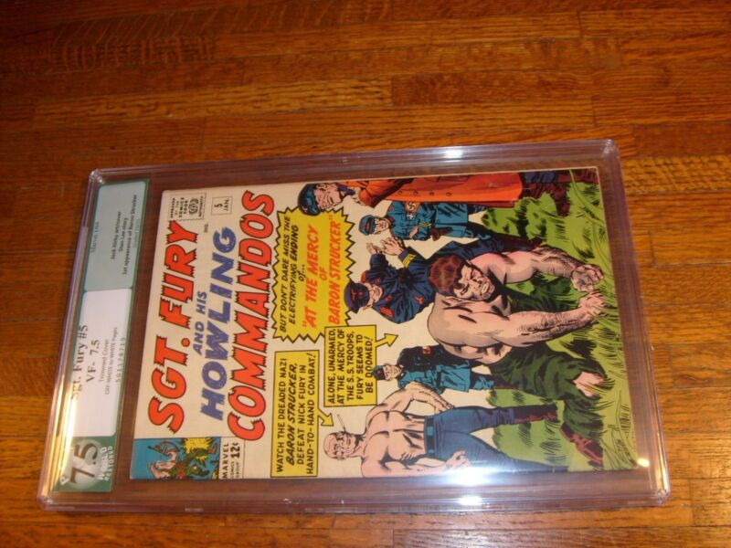 """SGT FURY #5, PGX GRADED VF- 7.5, """"restored"""" (TRIMMED COVER)"""
