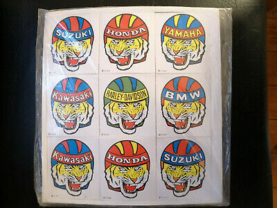 Lot of 9 Vintage 70's Stickers Moto Helmet BMW HARLEY HONDA Old Stock No Repro