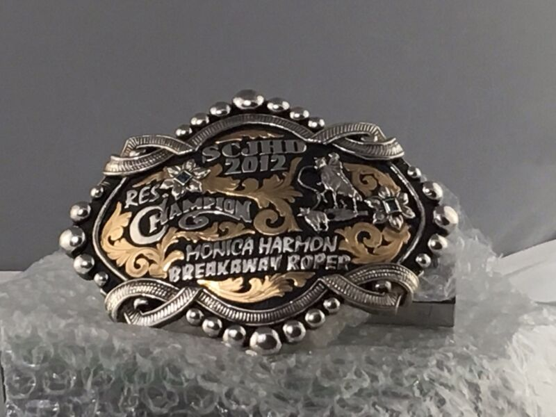 Large Bob Berg Sterling Silver Championship Buckle 278 gms