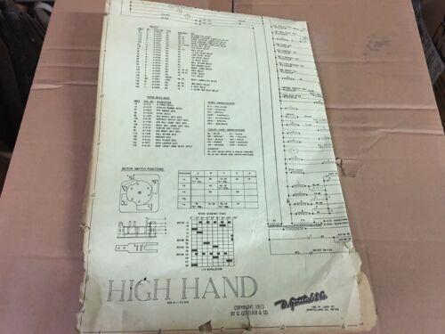Gottlieb High hand Electromechanical Pinball Machine Manual Fold-Out Schematic