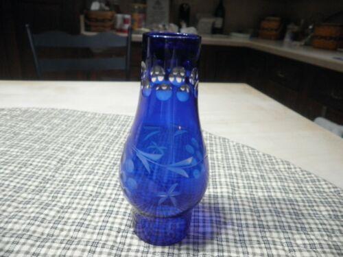 Vintage Cobalt Blue Cut To Clear Mini Oil Lamp Chimney