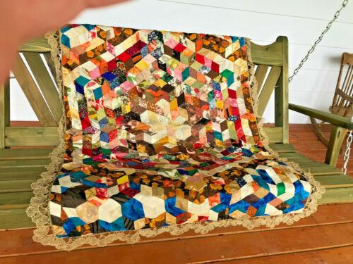 "28"" x 56"" Victorian Silk Crazy Quilt w handmade lace edging HAND PIECED Brodcade"