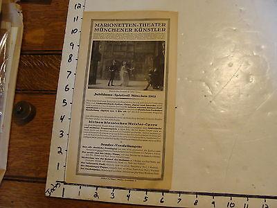 Vintage MARIONETTE Paper: 1925 muncih marionetten theatre  Hand Bill
