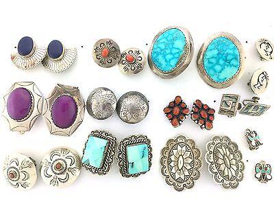 Sterling Silver Multi Native American Styles MIXED LOT 12 TWELVE CLIP Earrings