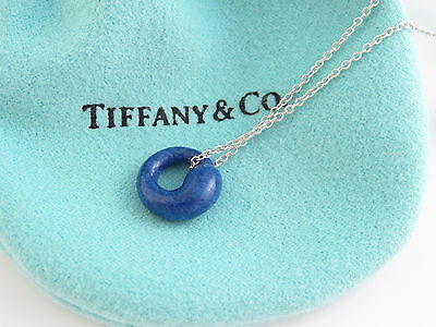 Tiffany lapisebay 2 tiffany co mint new rare silver peretti eternal circle blue lapis necklace mozeypictures Image collections