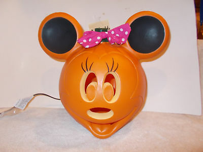 Disney Minnie Mouse Blow Mold Light Up Plastic Halloween Pumpkin Decoration NEW