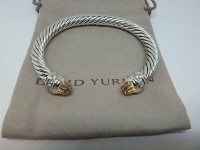 David Yurman 7mm Sterling Silver Classic Cable bracelet w/ Morganite & diamonds