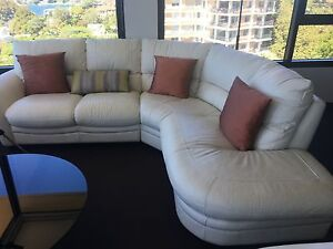 White leather 4-5 seat lounge Darling Point Eastern Suburbs Preview