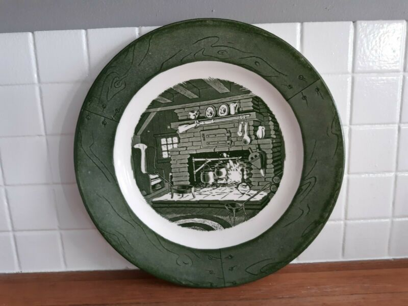Colonial Homestead by Royal green and white dinner plate set of 6