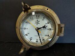 Brass Ship Porthole Vintage Wall Clock SeaHouse Nautical Beach House Decor