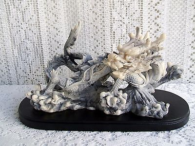 ****** CHINESE CARVED RESIN DRAGON STATUE ON STAND ******